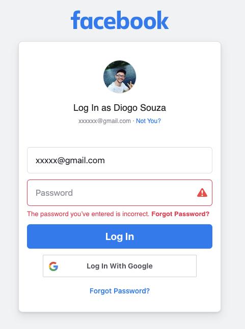 Invalid password message