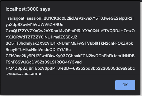 Alert message exposing RailsGoat session cookie